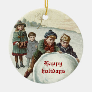 Vintage Children playing in winter Christmas Ornament