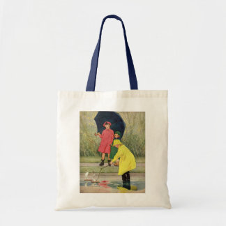 Vintage Children Playing Puddles Toy Boats Rain Budget Tote Bag