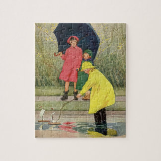 Vintage Children Playing Puddles Toy Boats Rain Jigsaw Puzzle
