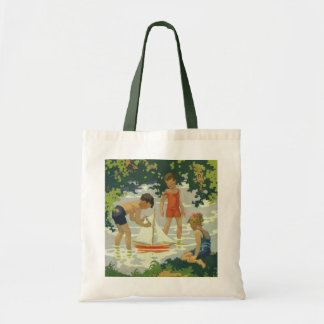 Vintage Children Playing Toy Sailboats Summer Pond Budget Tote Bag