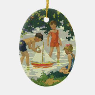 Vintage Children Playing Toy Sailboats Summer Pond Christmas Ornament