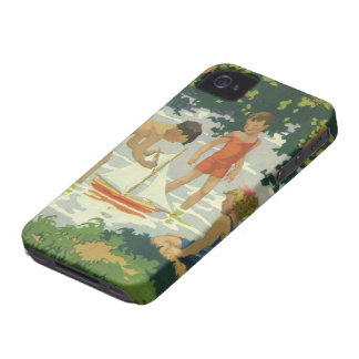 Vintage Children Playing Toy Sailboats Summer Pond iPhone 4 Covers