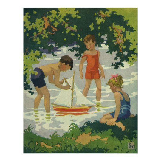 Vintage Children Playing Toy Sailboats Summer Pond Poster