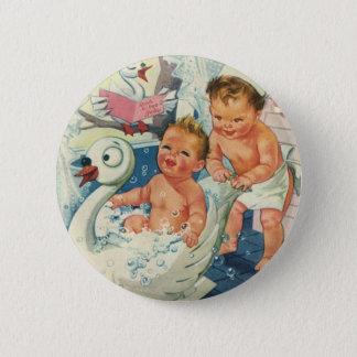 Vintage Children Playing w Bubbles in Swan Bathtub 6 Cm Round Badge