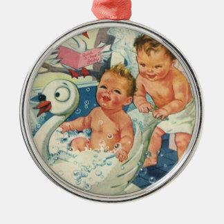 Vintage Children Playing w Bubbles in Swan Bathtub Christmas Ornament