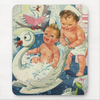 Vintage Children Playing w Bubbles in Swan Bathtub Mouse Pad