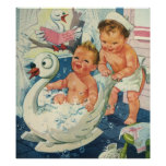 Vintage Children Playing w Bubbles in Swan Bathtub Poster