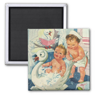 Vintage Children Playing w Bubbles in Swan Bathtub Square Magnet