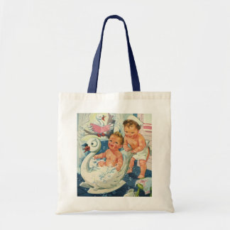 Vintage Children Playing w Bubbles in Swan Bathtub Bags