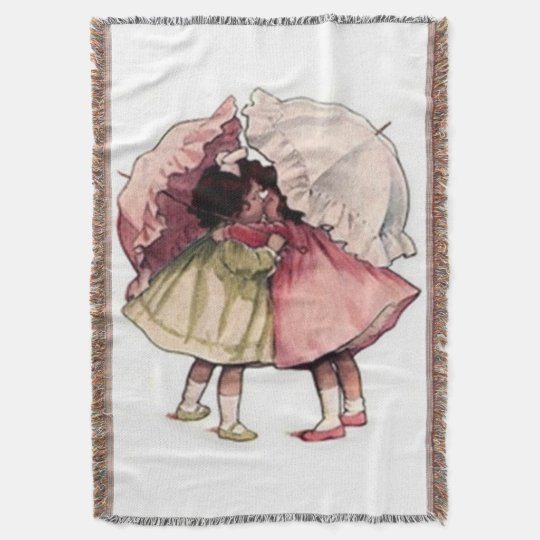 Vintage Children Pretty Girls Afghan Throw Blanket