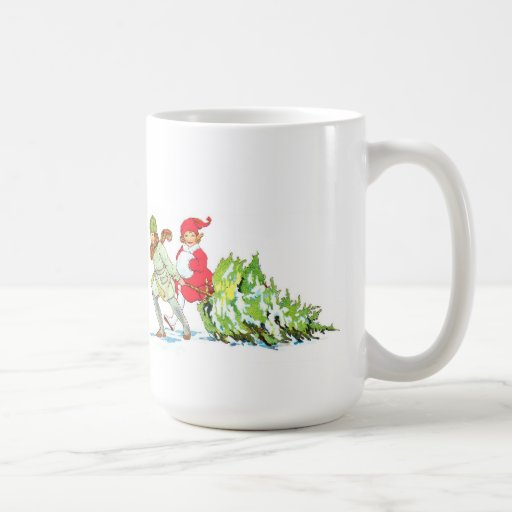Vintage Children Pulling A Christmas Tree Mug Coffee Mug