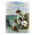 Vintage Children put Doll to Sea Postcards