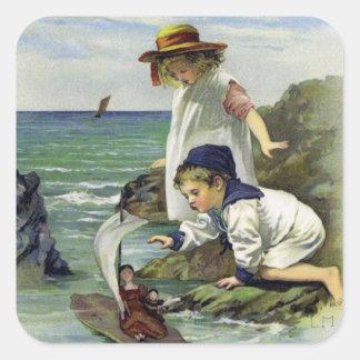 Vintage Children put Doll to Sea Square Sticker