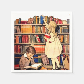 Vintage Children Reading Library Books Napkins Paper Napkin