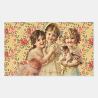Vintage Children Rechthoekvormige Sticker