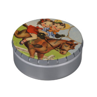 Vintage Children Riding a Horse Playing Cowboys Jelly Belly Tin