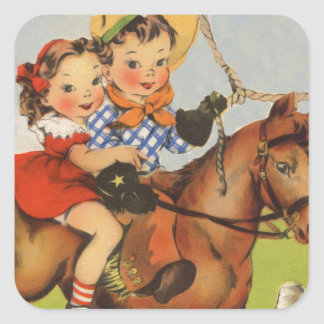 Vintage Children Riding a Horse Playing Cowboys Square Sticker