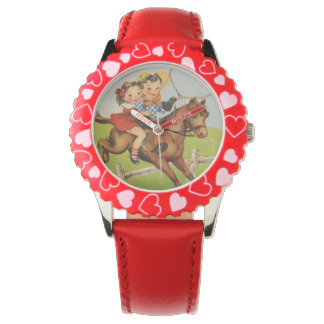 Vintage Children Riding a Horse Playing Cowboys Wrist Watch
