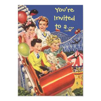 "Vintage Children Roller Coaster Fun Birthday Party 5"" X 7"" Invitation Card"