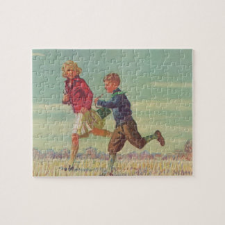 Vintage Children Running to School Carrying Books Jigsaw Puzzle