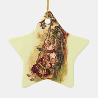 Vintage Children Swinging Outside on Tree Swing Christmas Ornament