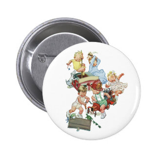 Vintage Children Toddlers Playing with Fire Trucks Buttons