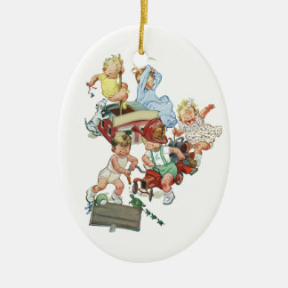 Vintage Children Toddlers Playing with Fire Trucks Ceramic Oval Decoration
