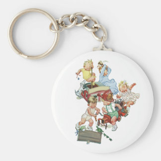 Vintage Children Toddlers Playing with Fire Trucks Keychain