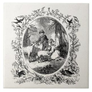 Vintage Children w Sheep Personalized Illustration Tile
