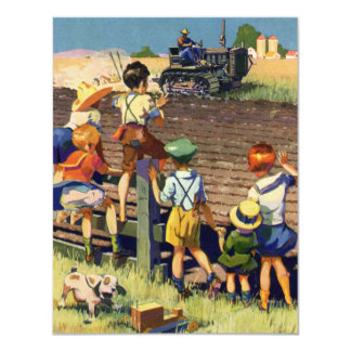 Vintage Children Waving to Local Farmer on Tractor 11 Cm X 14 Cm Invitation Card