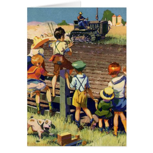 Vintage Children Waving to Local Farmer on Tractor Greeting Card