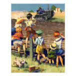 Vintage Children Waving to Local Farmer on Tractor Personalised Invitations