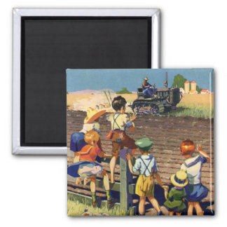 Vintage Children Waving to Local Farmer on Tractor Square Magnet