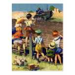 Vintage Children Waving to Local Farmer on Tractor Post Cards