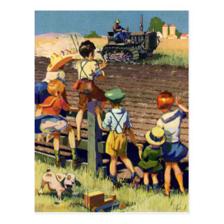 Vintage Children Waving to Local Farmer on Tractor Postcard