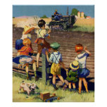 Vintage Children Waving to Local Farmer on Tractor Print