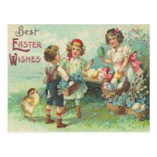 Vintage Children With Easter Eggs Easter Card Postcard