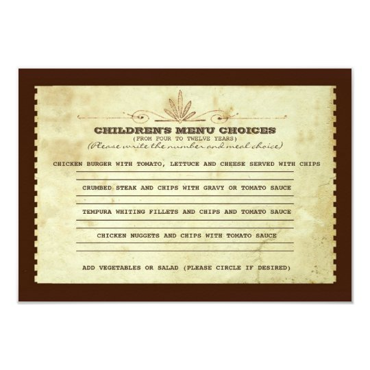 vintage children's menu choice for wedding card