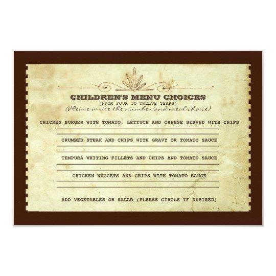 vintage children's menu choice for wedding invitation