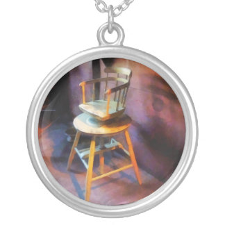 Vintage Child's Barber Chair Round Pendant Necklace