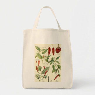 Vintage chillies illustration tote shopping bag