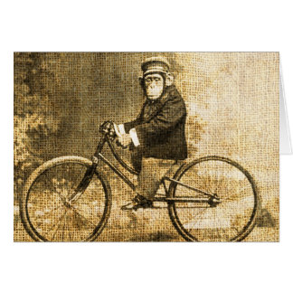 Vintage Chimpanzee on a Bicycle Card