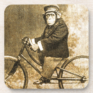 Vintage Chimpanzee on a Bicycle Coasters