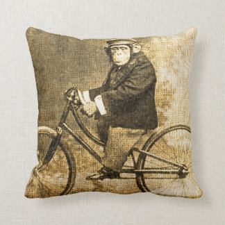 Vintage Chimpanzee on a Bicycle Throw Pillow
