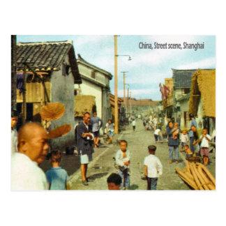 Vintage, China, Street scene, Shanghai Postcard