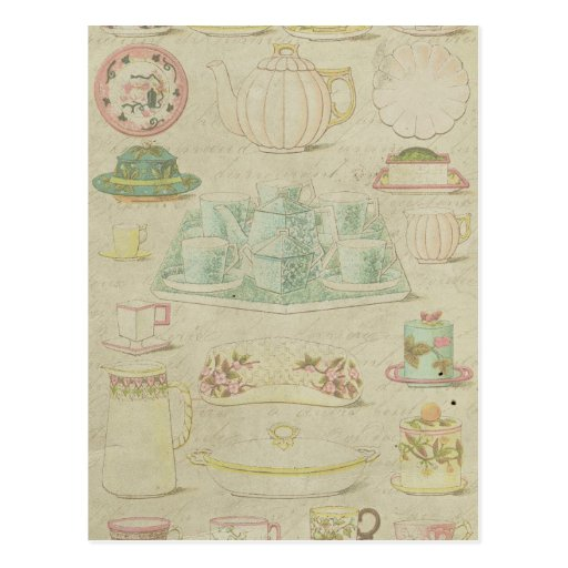 Vintage China Teacups Teapot Shabby Kitchen Decor Postcard