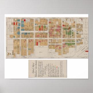 Vintage Chinatown San Francisco Map 1885 Poster