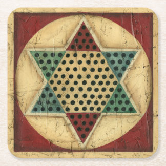 Vintage Chinese Checkerboard by Ethan Harper Square Paper Coaster