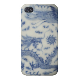 Vintage chinese dragon monaco blue chinoiserie iPhone 4 covers