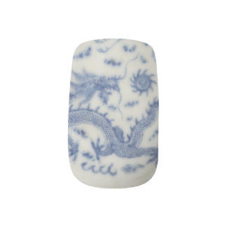 Vintage chinese dragon monaco blue chinoiserie minx nail art